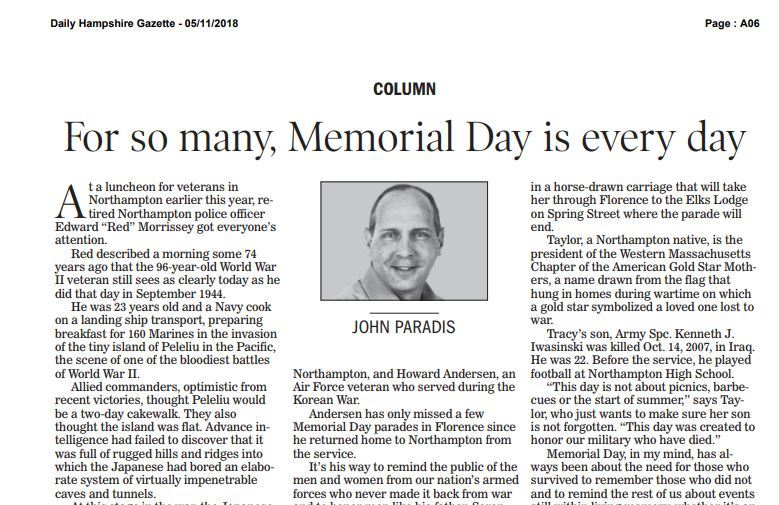 Memorial Day is every day news clipping