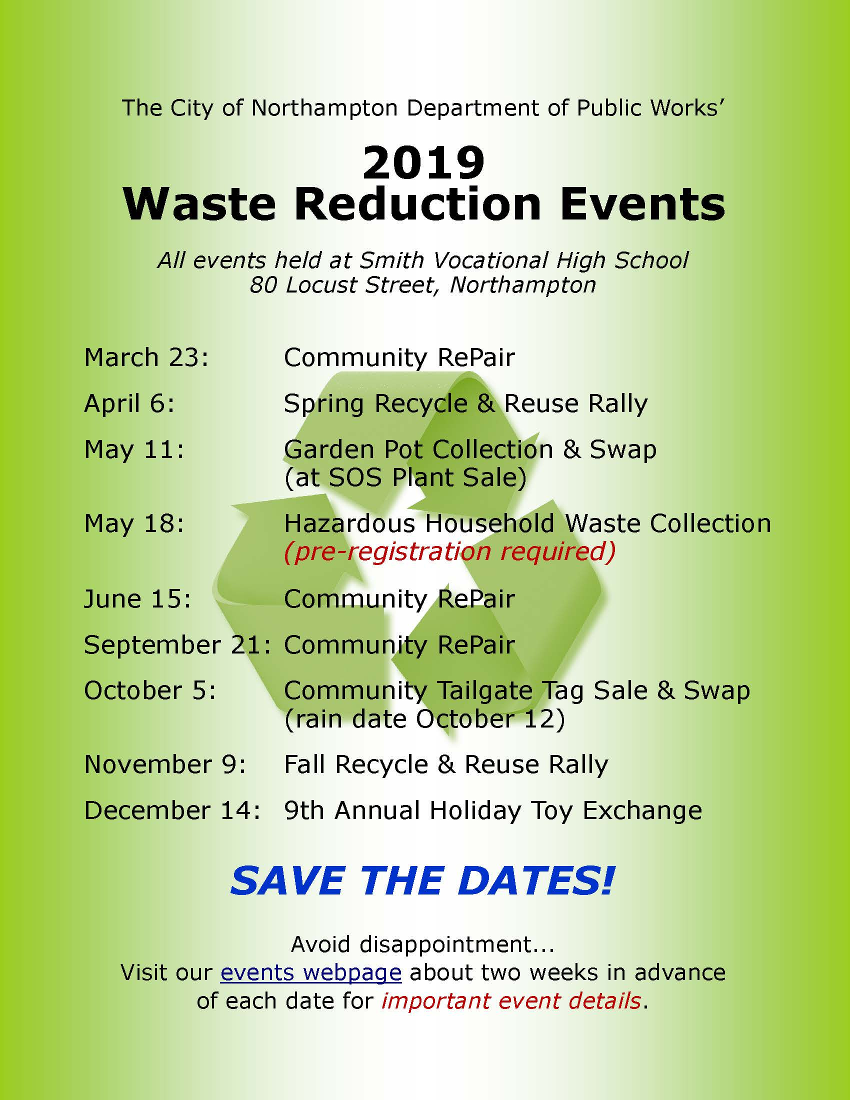 Image of Waste Reduction Events Calendar 2019