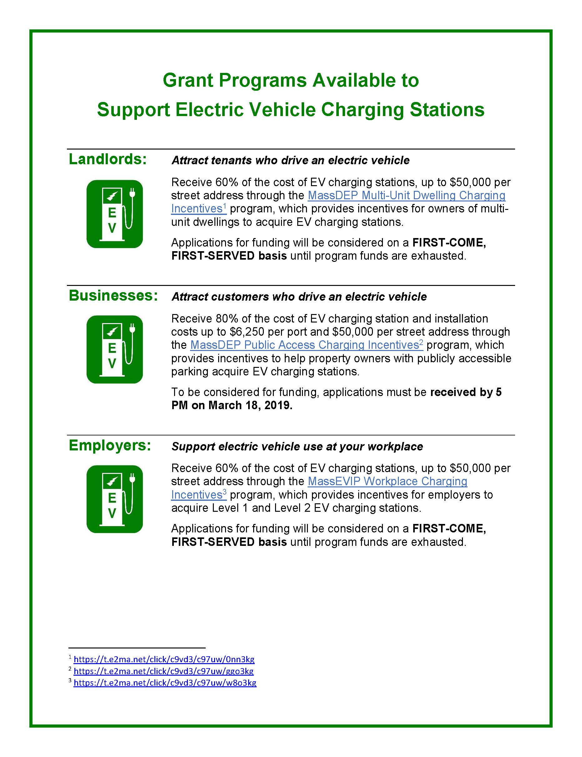 Image of Grants for EV Chargers flyer