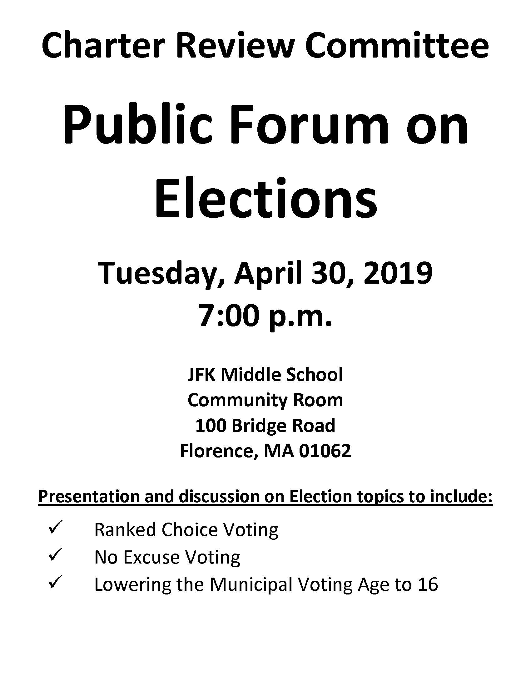 Image of Charter Review Committee Public Forum on Elections flyer