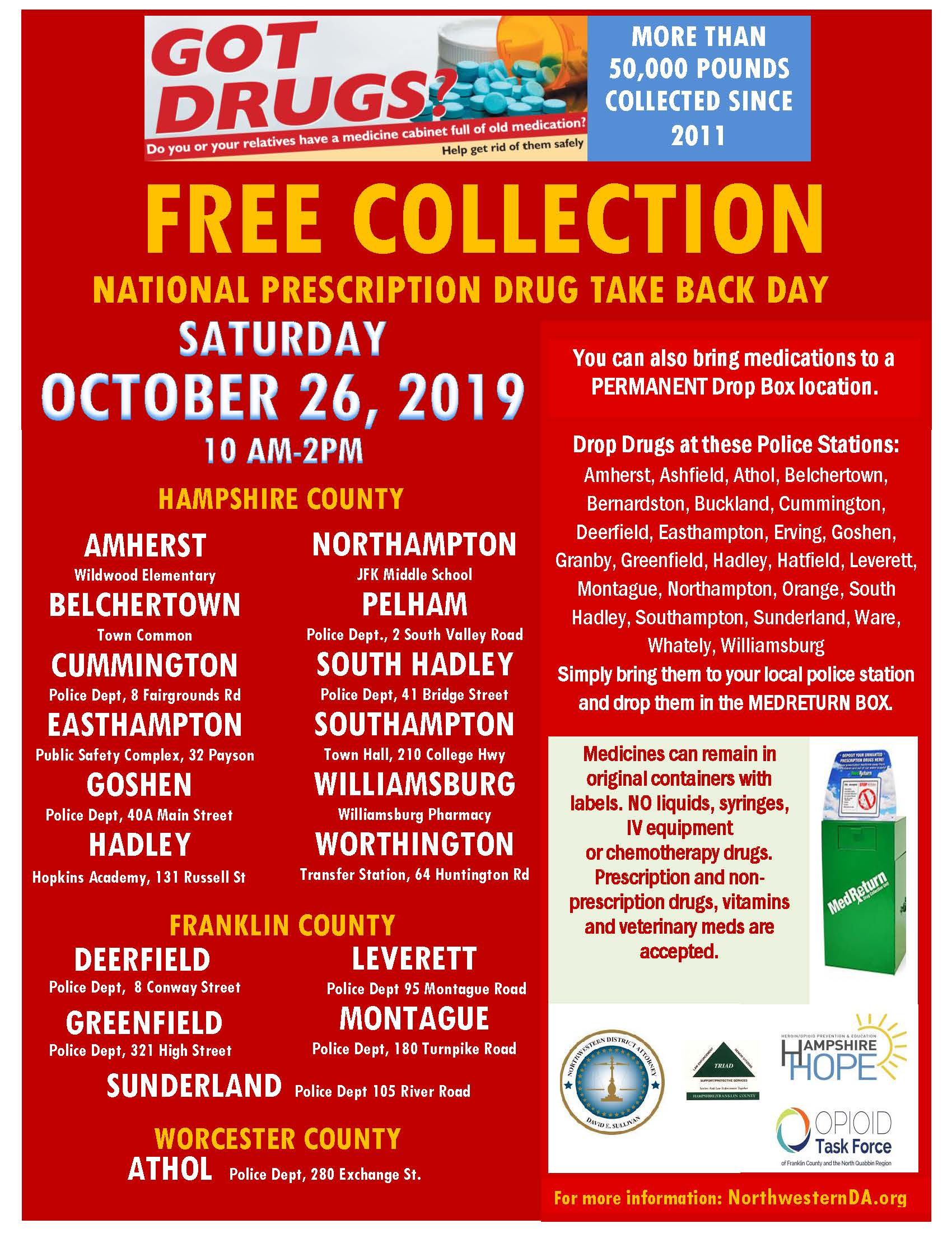 Image of Drug Take Back Day flyer- October 2019