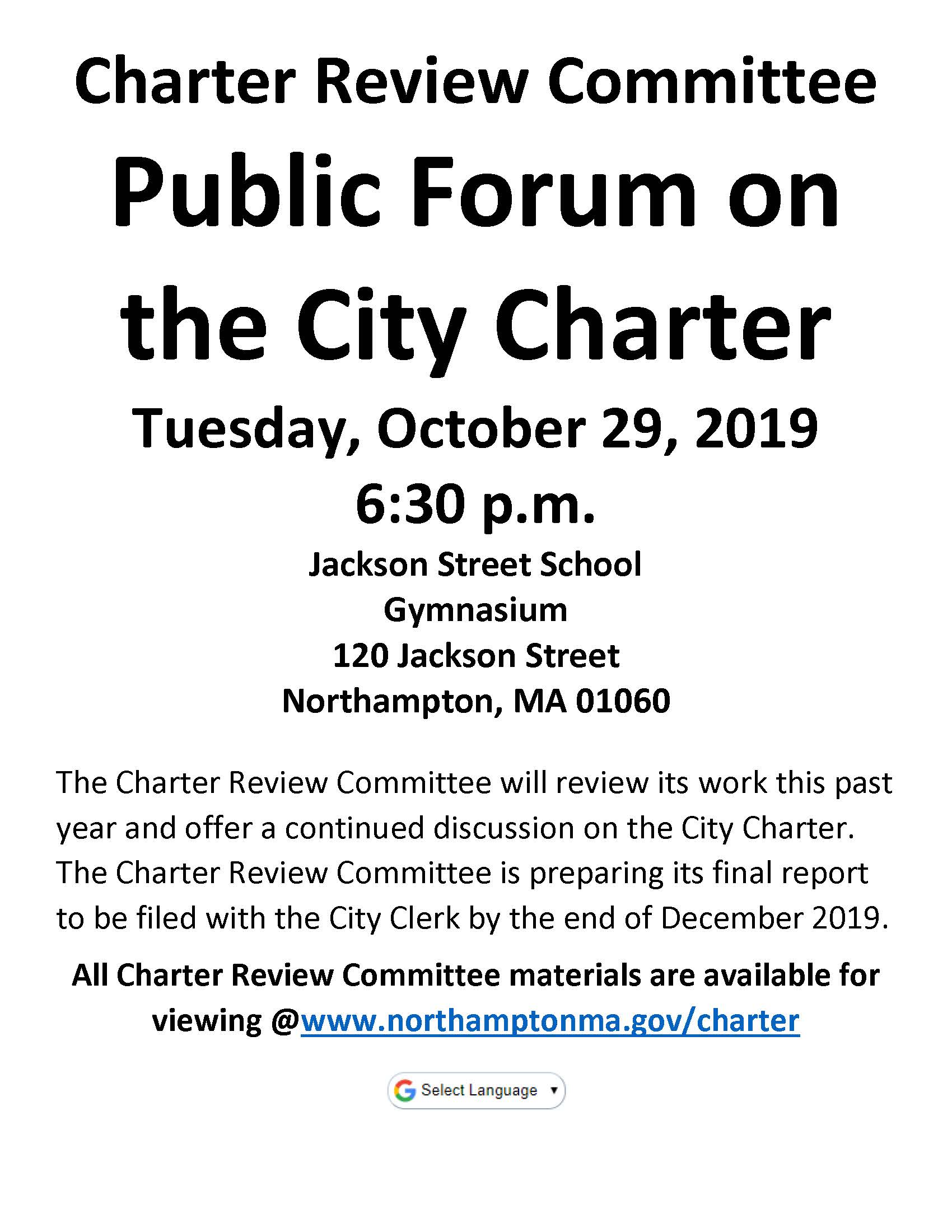Image of the Charter Review Committee Public Forum on Charter flyer
