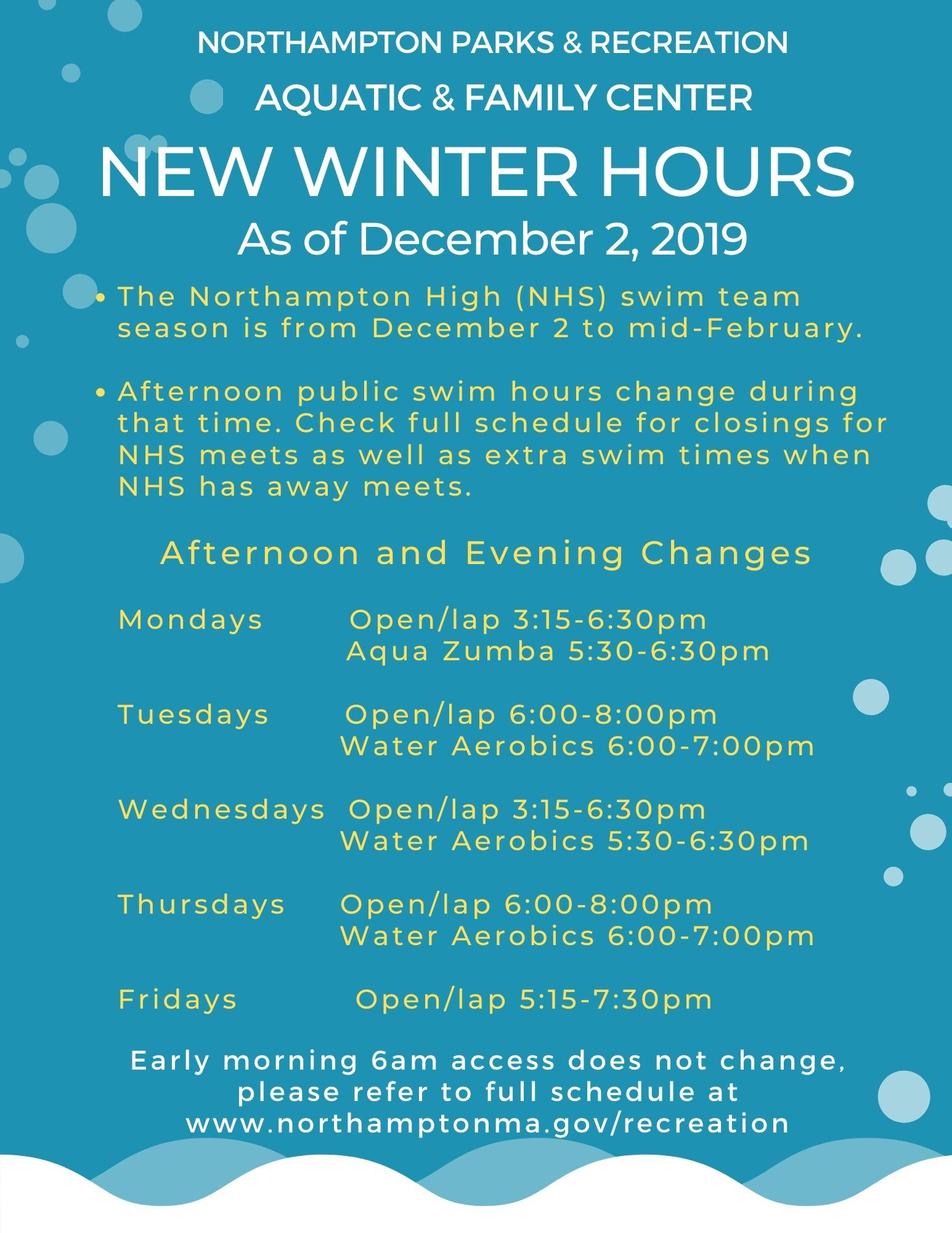 new pool winter hours aquatic family center