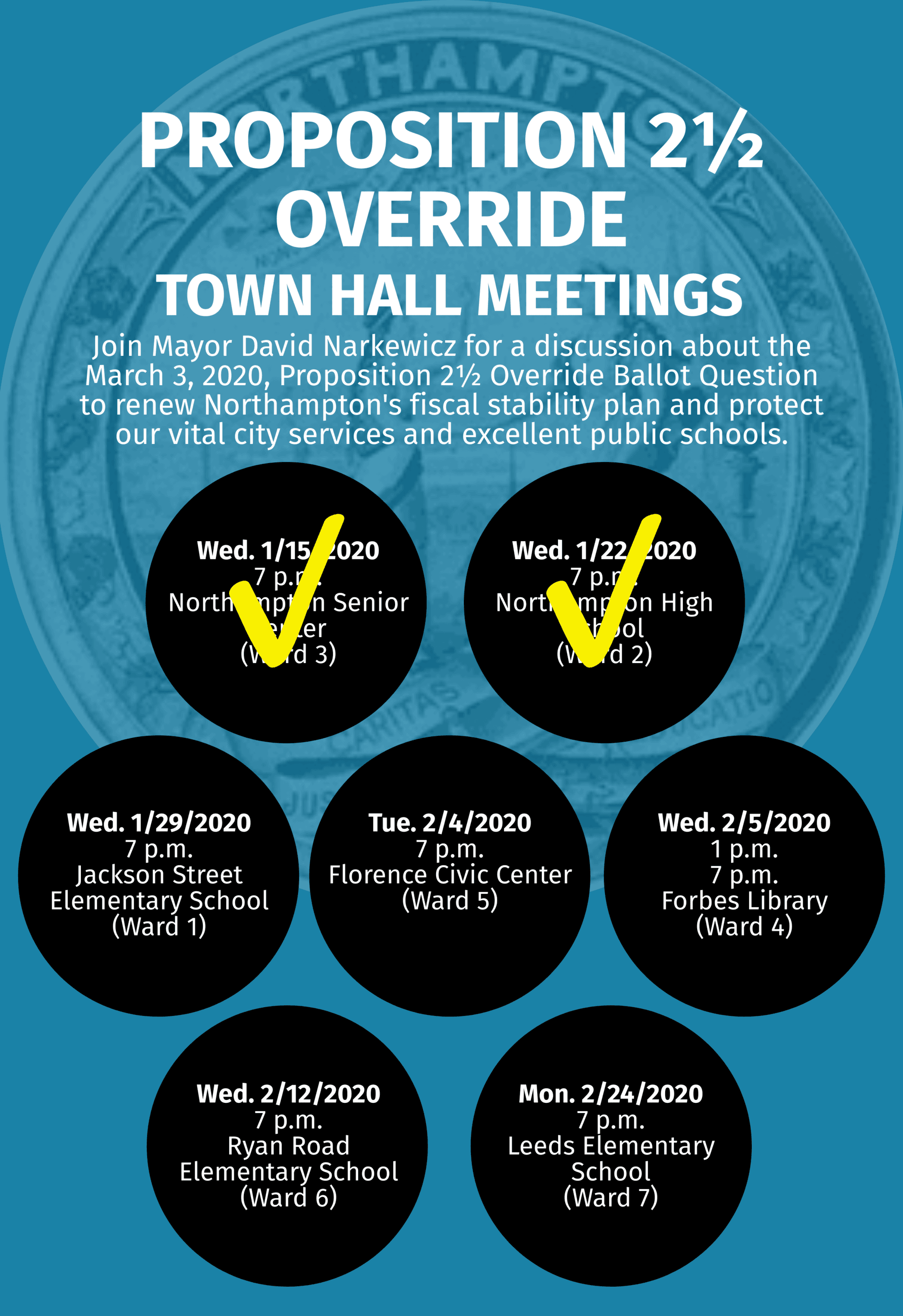 Image of Prop 2.5 Override Town Hall Meetings Flyer