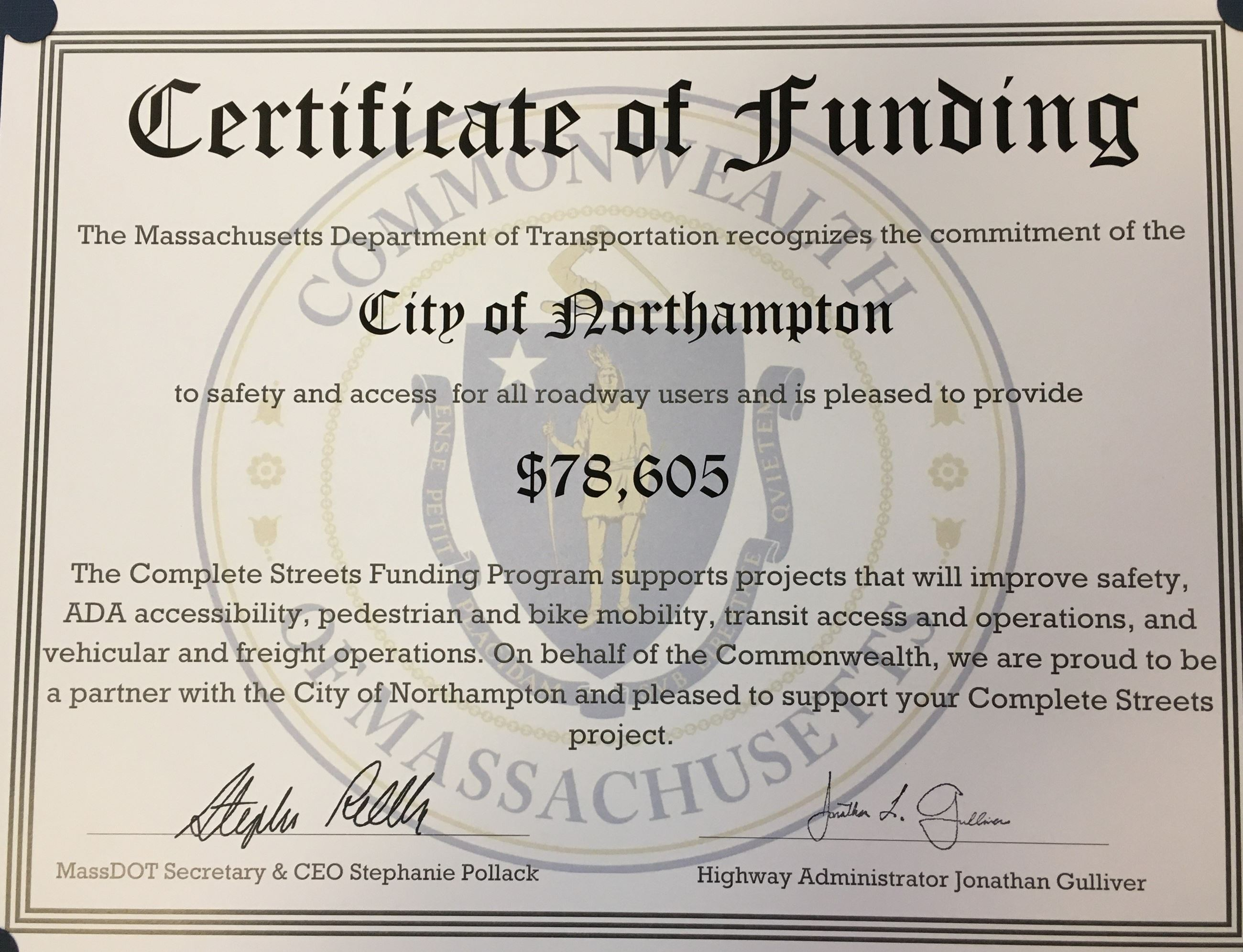 Image of Complete Streets Grant Certificate