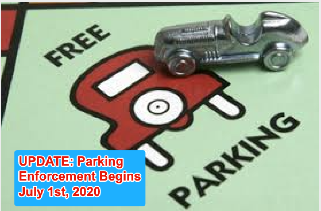 Free parking update - Enforcement Begins July 1st