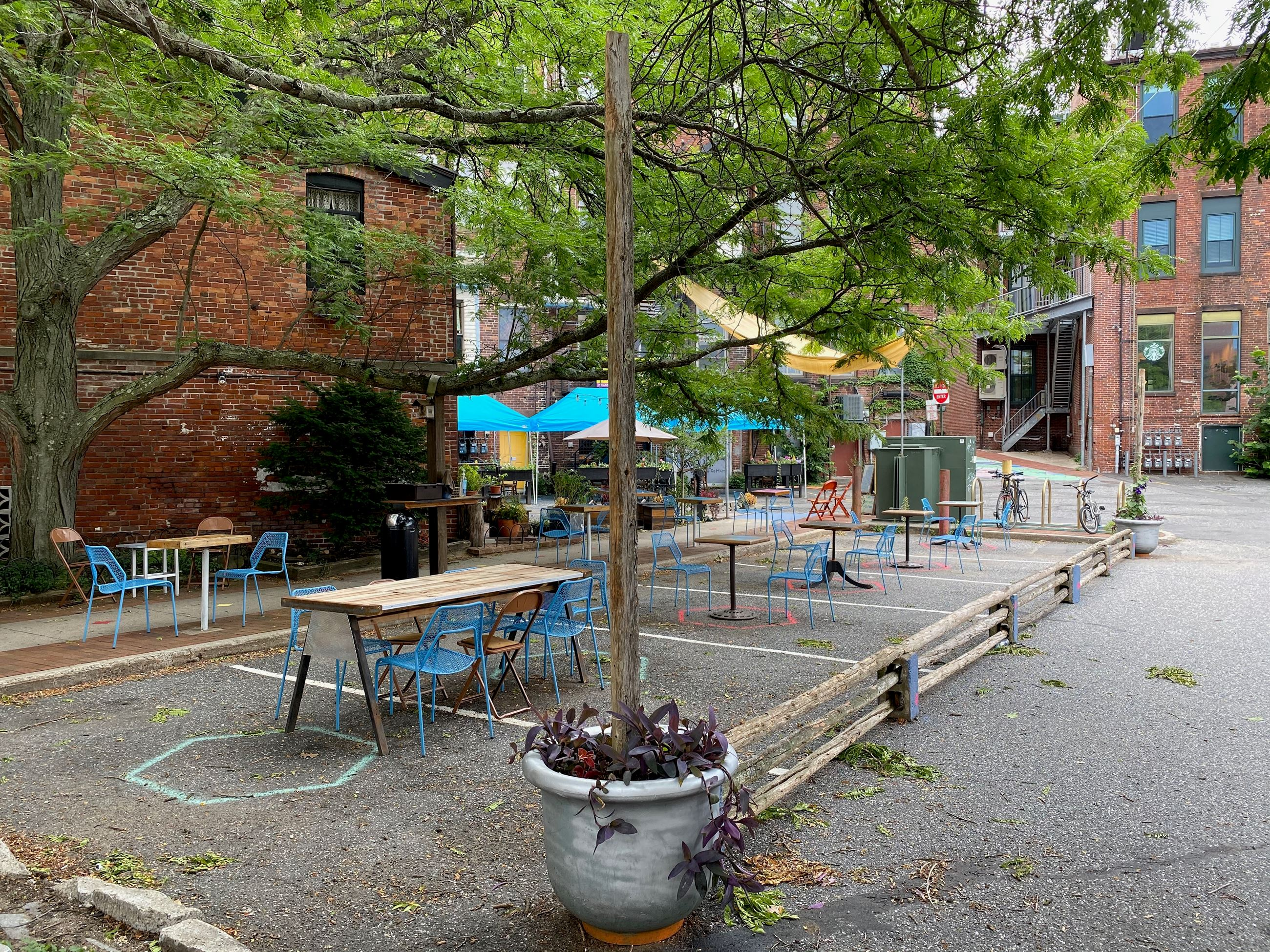 Image of outdoor dining spaces in downtown Northampton
