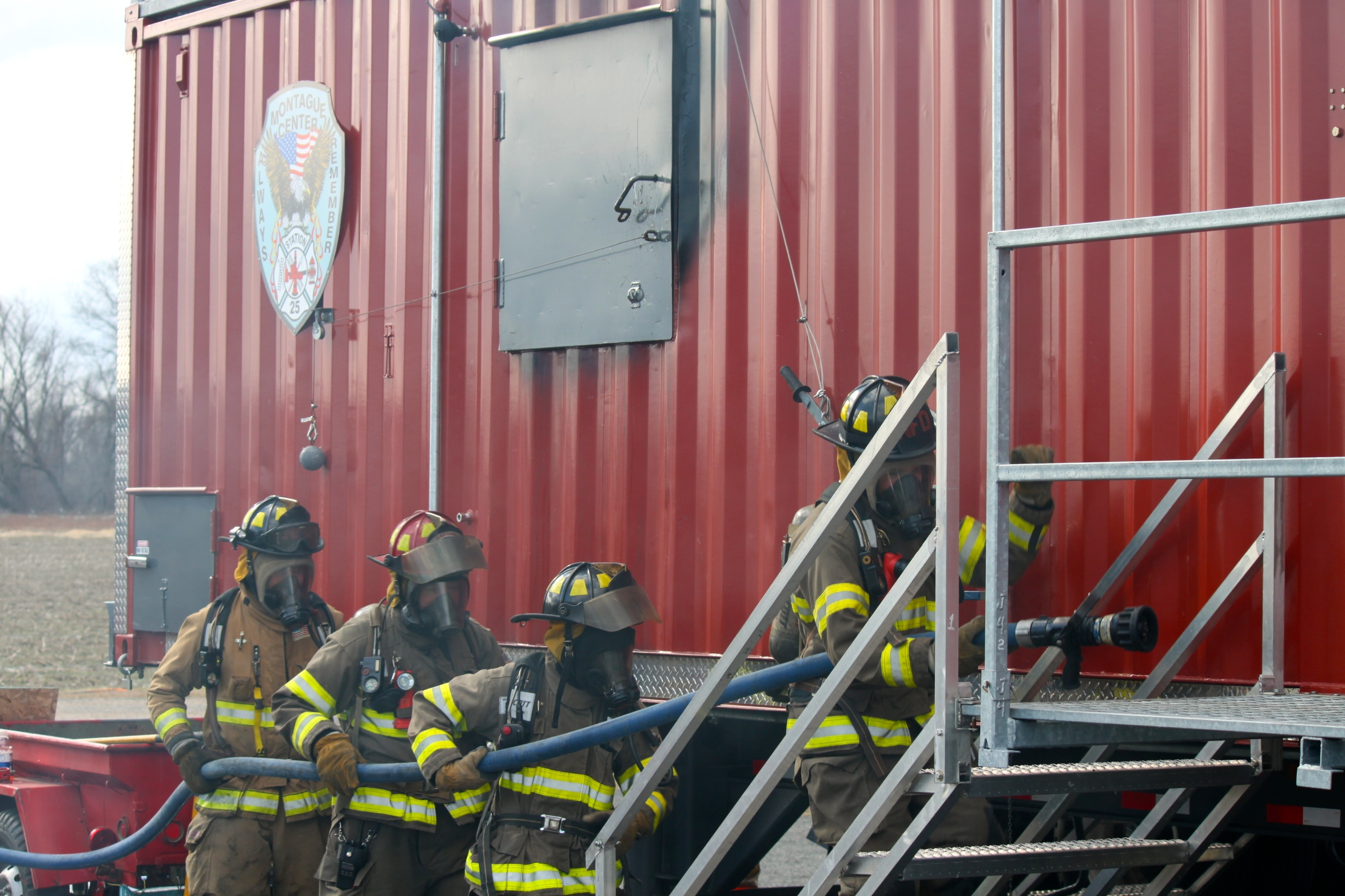 Firefighters Doing Training Exercise