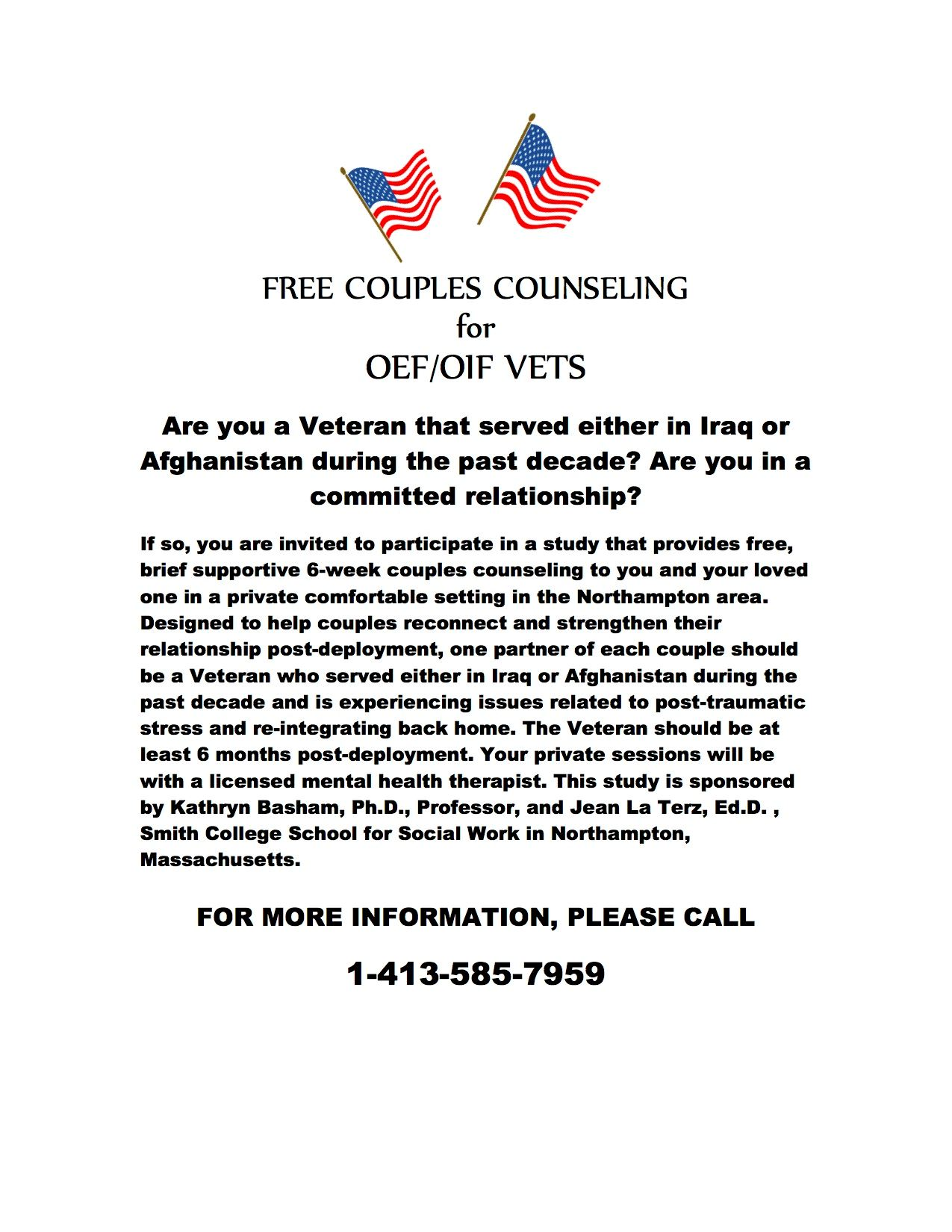 Free Couples Counseling for OEF/OIF Vets flyer