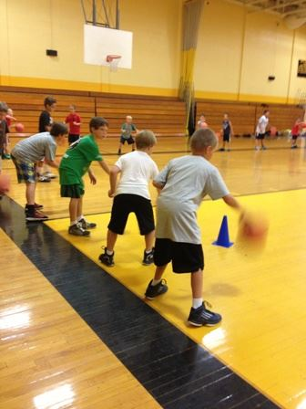 Kids dribbling the ball